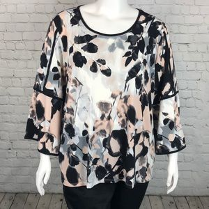 Calvin Klein Floral Bell Sleeve Top Plus Size 3X